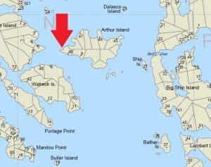 Cognashene map Arthur Island closeup marking Rock the Bay