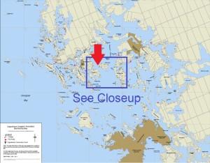 Cognashene map marking Rock the Bay